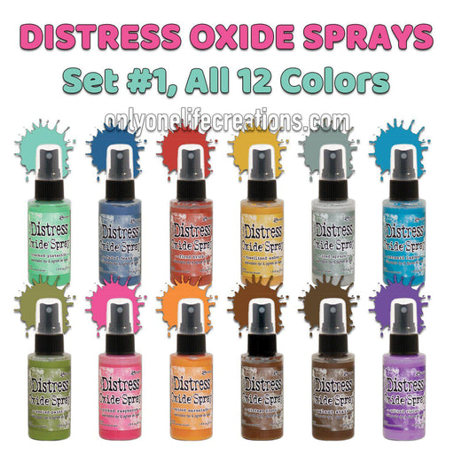 Tim Holtz Distress Oxide Sprays, Set #1, All 12 Colors-Only One Life Creations