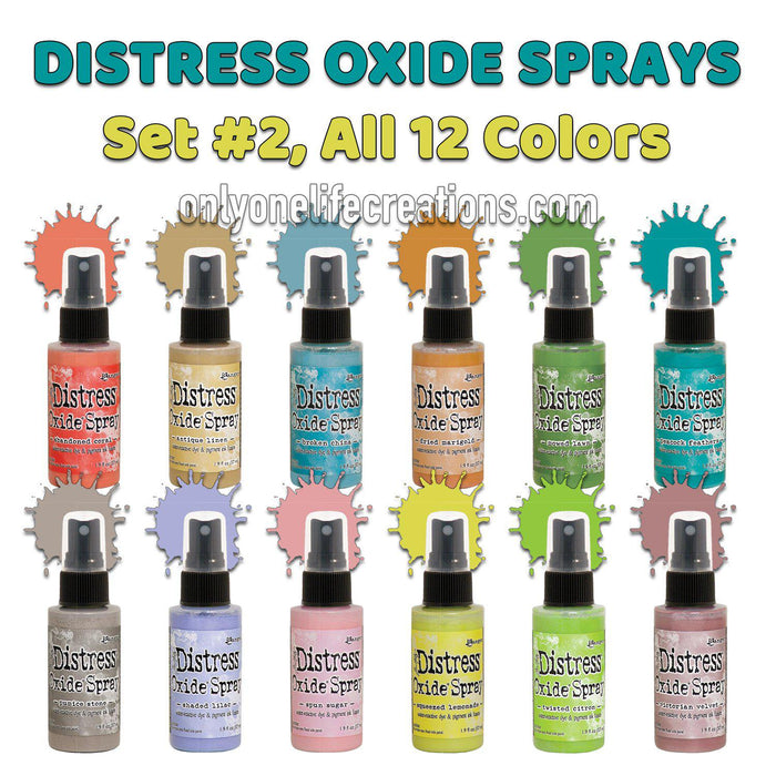 Tim Holtz Distress Oxide Sprays, Set #2, All 12 Colors-Only One Life Creations