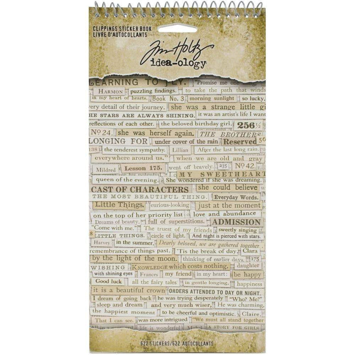 "Tim Holtz Idea-ology Clippings Sticker Book 4.5""x8.75"" 622/Pkg (TH94030)-Only One Life Creations"