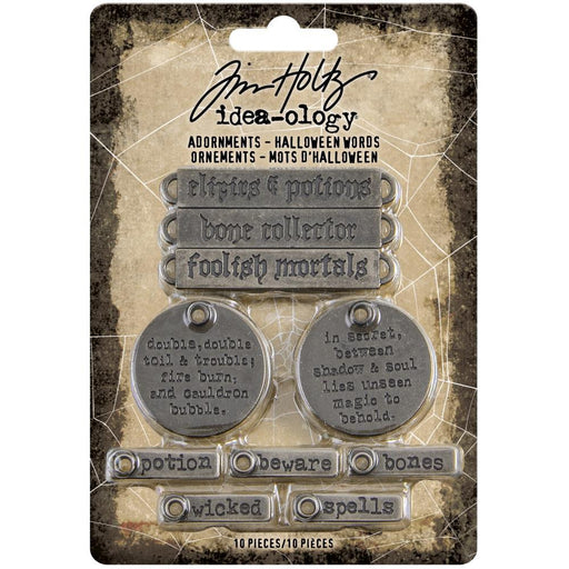 Tim Holtz Idea-Ology Metal Adornments: Antique Silver Halloween Words 10/Pkg (TH94063)-Only One Life Creations