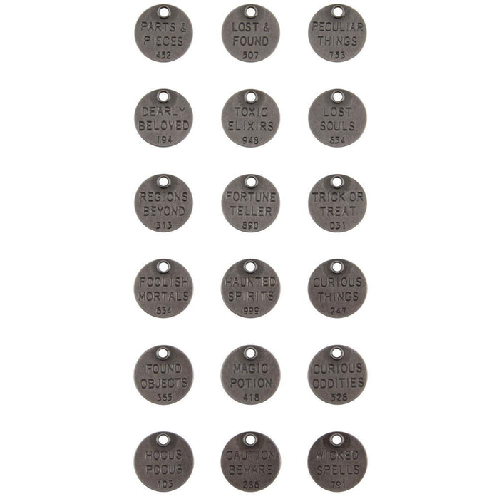 Tim Holtz Idea-Ology Metal Quote Tokens: Halloween 18/Pkg (TH94064)-Only One Life Creations