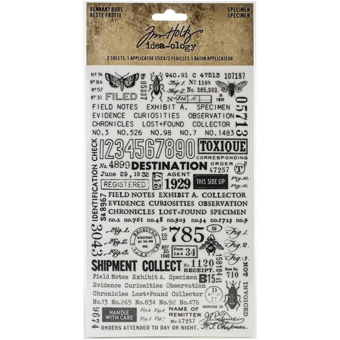 "Tim Holtz Idea-Ology Remnant Rubs Rub-Ons 4.75""x7.75"" 2/Pkg: Specimen (TH94047)-Only One Life Creations"