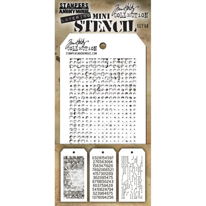 Tim Holtz Mini Layered Stencil Set 3/Pkg: Set #48 (MTS48)-Only One Life Creations