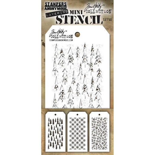 Tim Holtz Mini Layered Stencil: Set #50, 3/pkg (MTS50)-Only One Life Creations