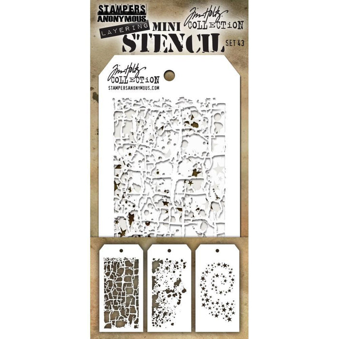 Tim Holtz Mini Layering Stencil Set, 3/Pkg, Set #43 (MTS43)-Only One Life Creations