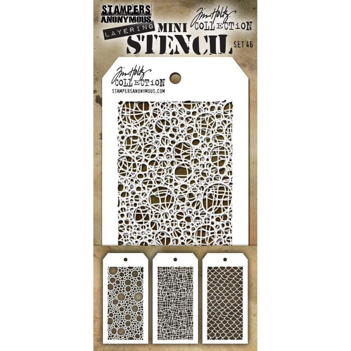 Tim Holtz Mini Layering Stencil Set 3/Pkg: Set #46 (MTS46)-Only One Life Creations