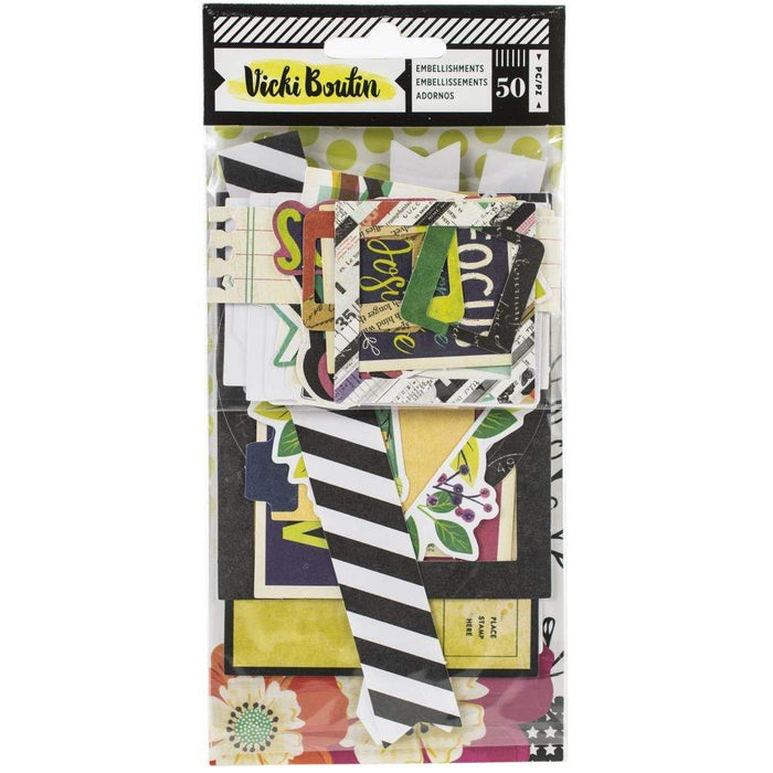 Vicki Boutin Color Kaleidoscope Ephemera Die-Cuts: Frames & Journaling, 50/Pkg (351171)-Only One Life Creations