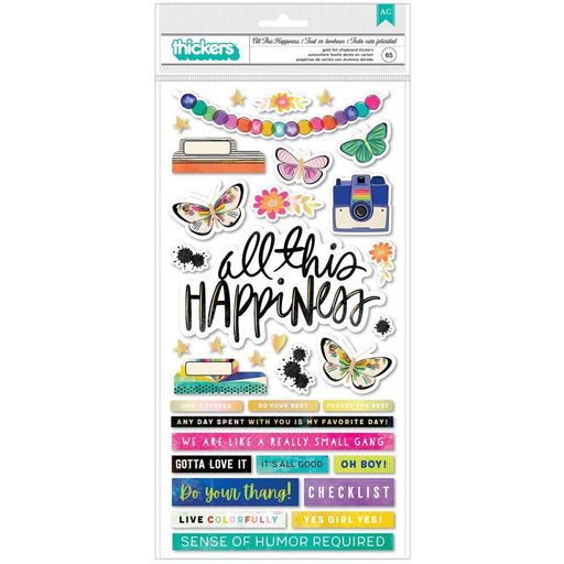 Vicki Boutin Color Study Collection Thickers Stickers: All This Happiness Phrases/Chipboard (VB007083)-Only One Life Creations
