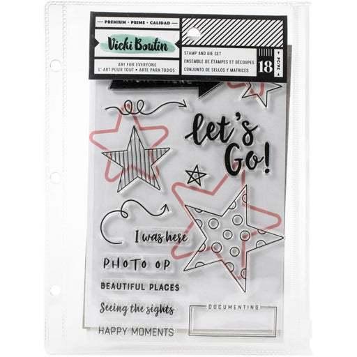 Vicki Boutin Let's Wander Collection Stamps & Dies: Let's Go, w/Magnetic Sheet and Pouch (VB352261)-Only One Life Creations