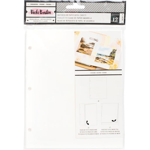 Vicki Boutin Mixed Media Junque Journal Refills: Watercolor Paper, 12/Pkg (343929)-Only One Life Creations