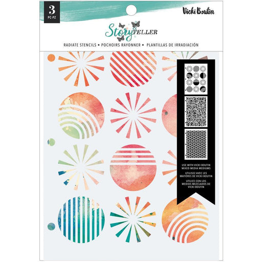 Vicki Boutin Storyteller Stencil: Radiate 3/Pkg (VB001347)-Only One Life Creations