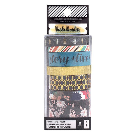 Vicki Boutin Wildflower & Honey Collection Washi Tape w/Gold Holographic Foil Accents, 8/Pkg (354110)-Only One Life Creations