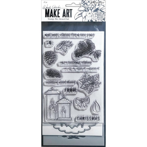 Wendy Vecchi Make Art Stencil, Stamp and Die Set: Warm Wishes (WVZ75257)-Only One Life Creations