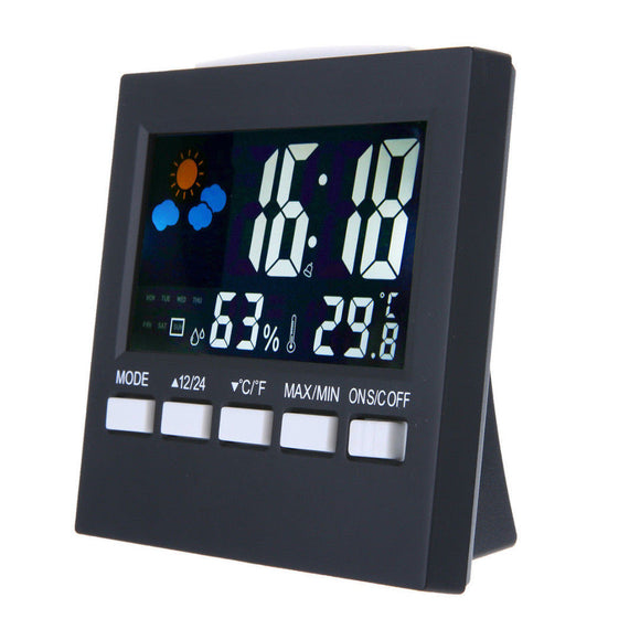 Digital Show Thermometer Humidity Clock Colorful LCD Alarm Calendar Weather Table Clocks