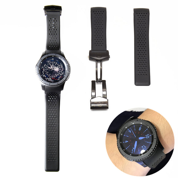 SAMSUNG REPLACEMENT STRAP - 22MM Sports Rubber Silicone Waterproof Watch Band Strap Curved End Bracelet Man Black