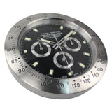 LUXURY SILVER METAL BLACK FACE WALL CLOCK - TimeLabStore