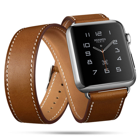 IWATCH REPLACEMENT STRAP - Extra Long Genuine Leather Band Double Tour Bracelet Leather Strap - TimeLabStore