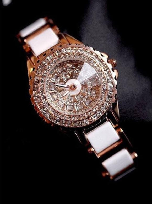 Ceramic Strap Dress Women Rhinestone Watch - TimeLabStore
