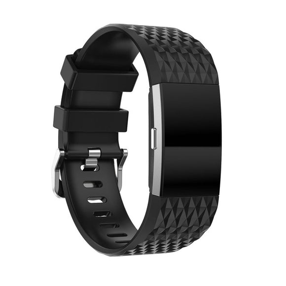 FITBIT CHARGE 2 REPLACEMENT STRAP - (12 Colors Diamond Pattern) Sport Replacement Silicone Strap