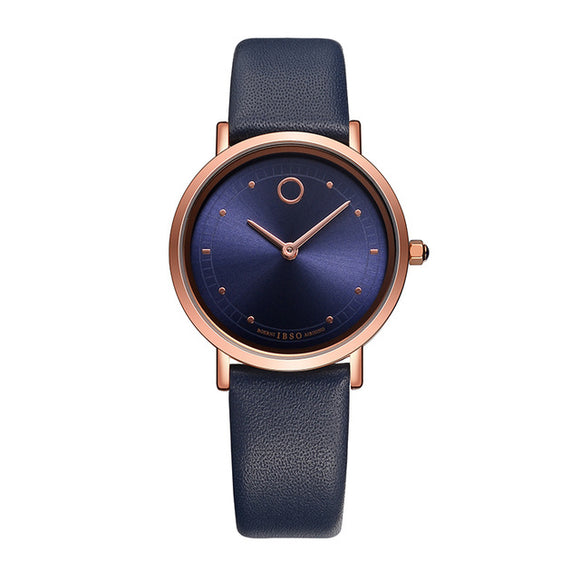 IBSO Ultra-Thin Women luxury Waterproof Quartz Genuine Leather Strap Watches - TimeLabStore