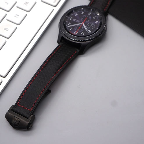 SAMSUNG REPLACEMENT STRAP -  Carbon Fiber Leather Band Metal Clasp Strap