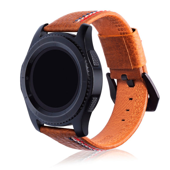 SAMSUNG REPLACEMENT STRAP - Hand-stitched lines Leather Watchband Strap - TimeLabStore