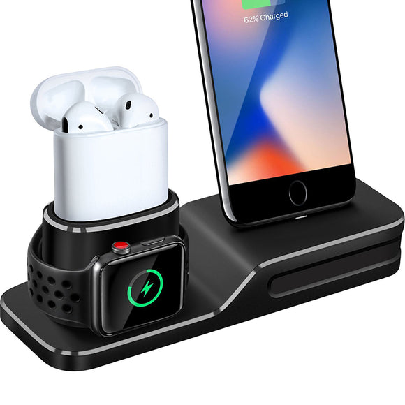 3 in 1 Charging Dock Holder For Iphone X Iphone 8 Iphone 7 Iphone 6 Silicone charging stand Dock Station For Apple watch Airpods - TimeLabStore