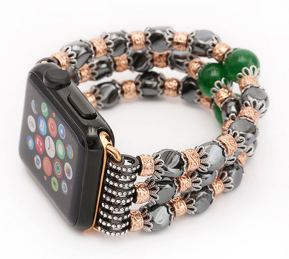 IWATCH REPLACEMENT STRAP - Hematite Jewelry bracelet 38mm/42mm wrist belt - TimeLabStore