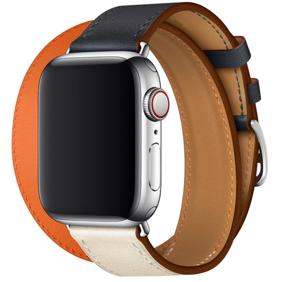 APPLE WATCH REPLACEMENT STRAP - Genuine Leather Double Tour Wrist Strap