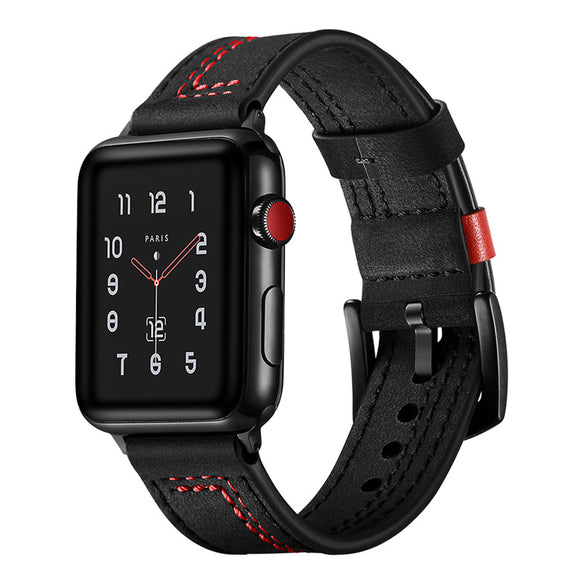 APPLE WATCH REPLACEMENT STRAP - Black Buckle Clasp Watchband