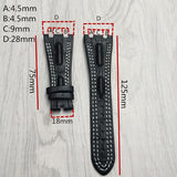 MERJUST Quality genuine leather watchband 28mm brown green blue  black  bracelet replacement leather watch strap for men for AP