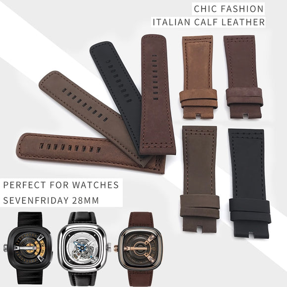 SevenFriday Watch Replacement Strap - Italian Calf Leather Watch Strap Colorful Needle Buckle