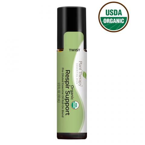 Plant Therapy Organic Respir Support™ Pre-Diluted Essential Oil Blend Roll On 10 mL - OilyPod