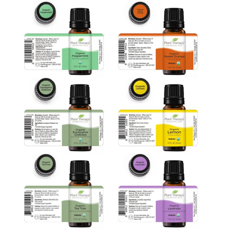 Plant Therapy Top 6 Organic Singles Essential Oil Set - OilyPod