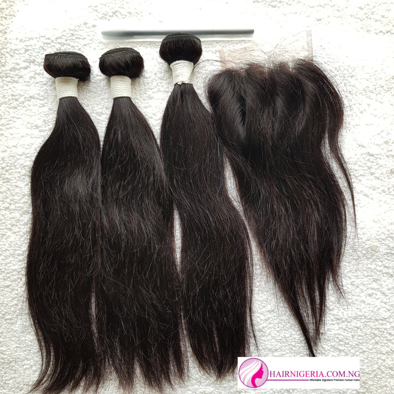 Double R5 Straight Human Hair - 3 Bundles and Closure