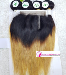 Green Leaves 2-Tone Gold Straight Hair - 4 Hair Bundles and Closure