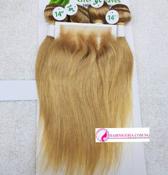 Green Leaves Gold Straight with 4 Bundles and a  Closure
