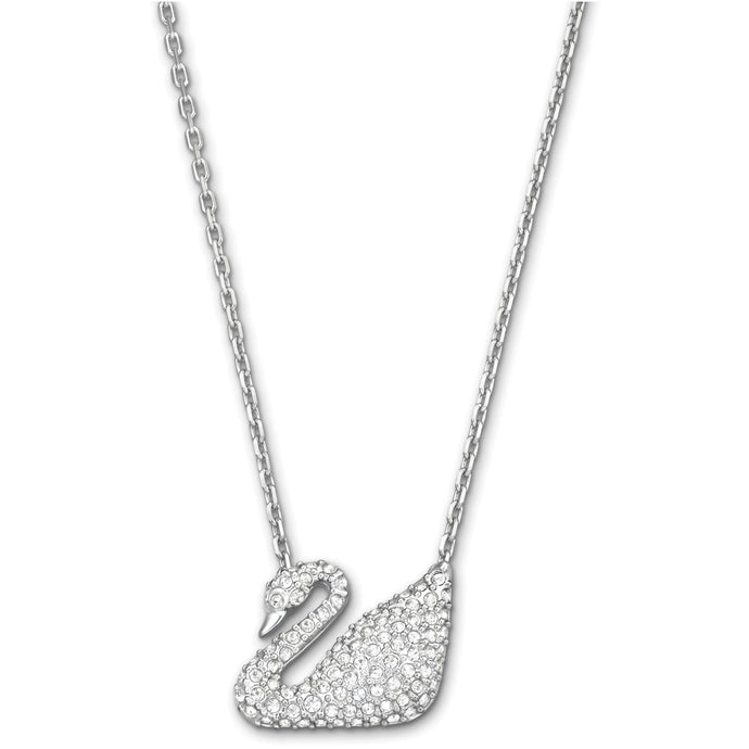 Swarovski Swan Necklace, White, Rhodium Plated