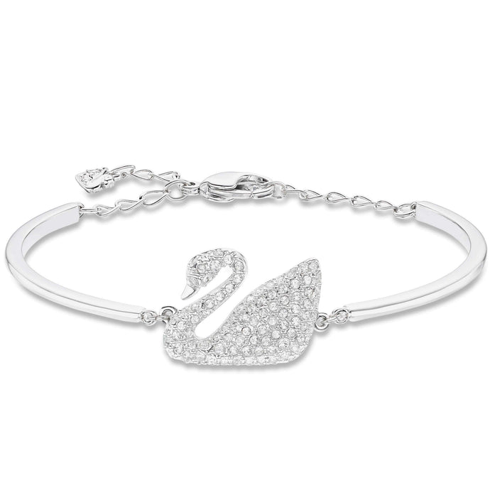 Swarovski Swan Bangle, White, Rhodium Plated