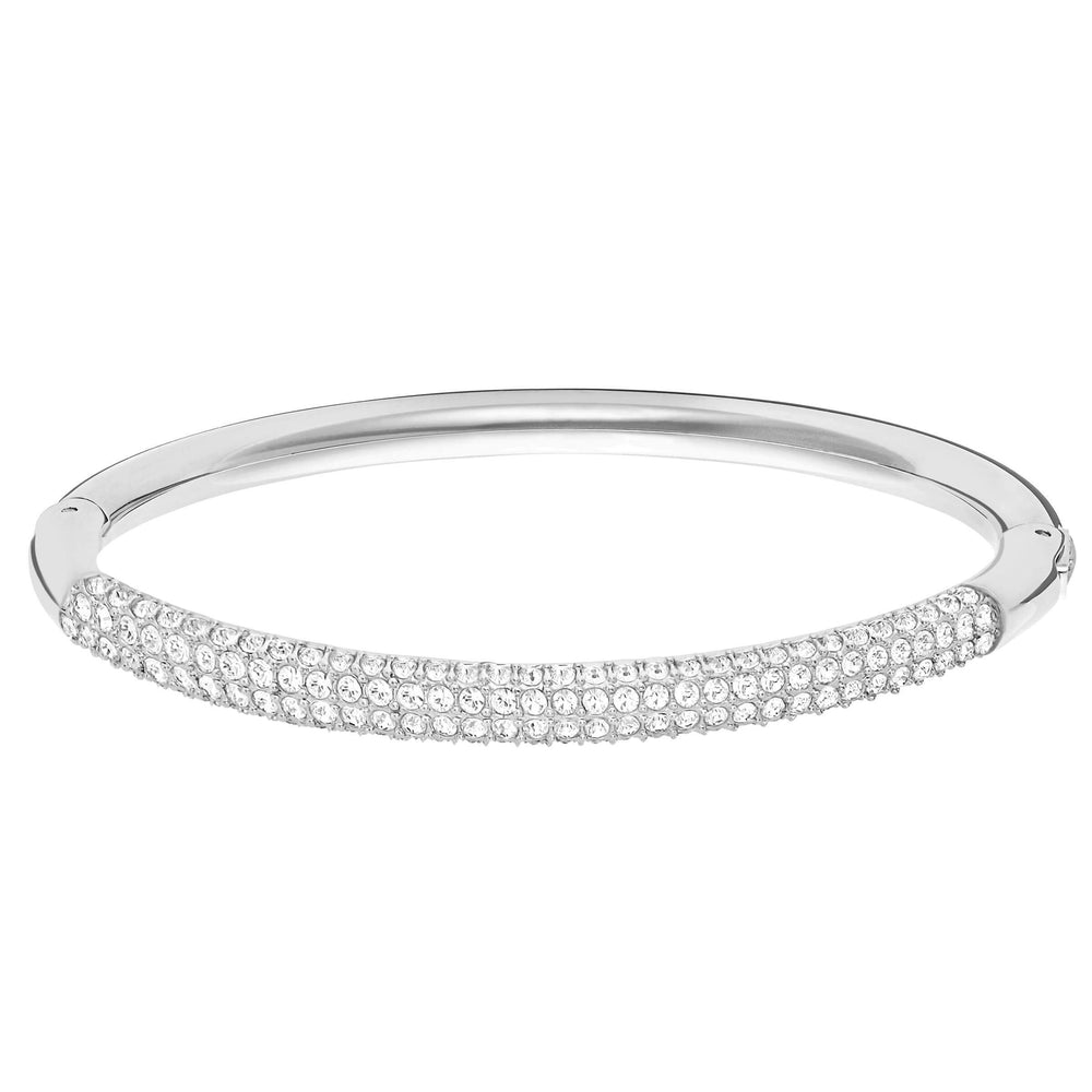 Swarovski Stone Mini Bangle, White, Rhodium Plated