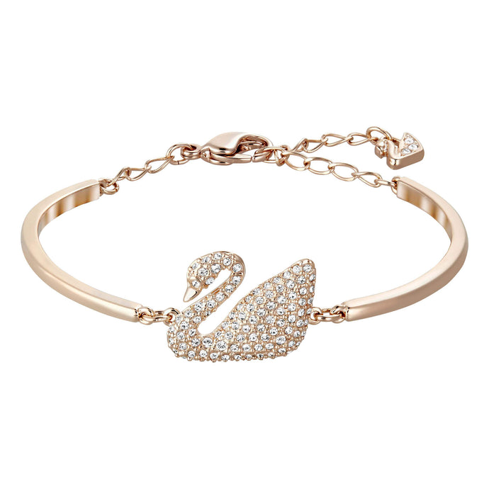 Swarovski Swan Bangle, White, Rose Gold Plated