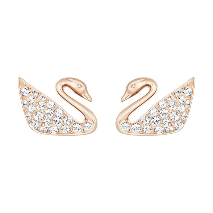 Swan Mini Pierced Earrings, White, Rose Gold Plating