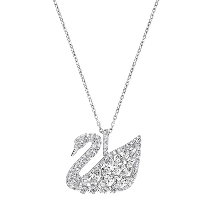 Swarovski Swan Lake Pendant, White, Rhodium Plating