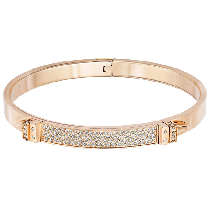 Swarovski Distinct Narrow Bangle, White, Rose Gold Plated