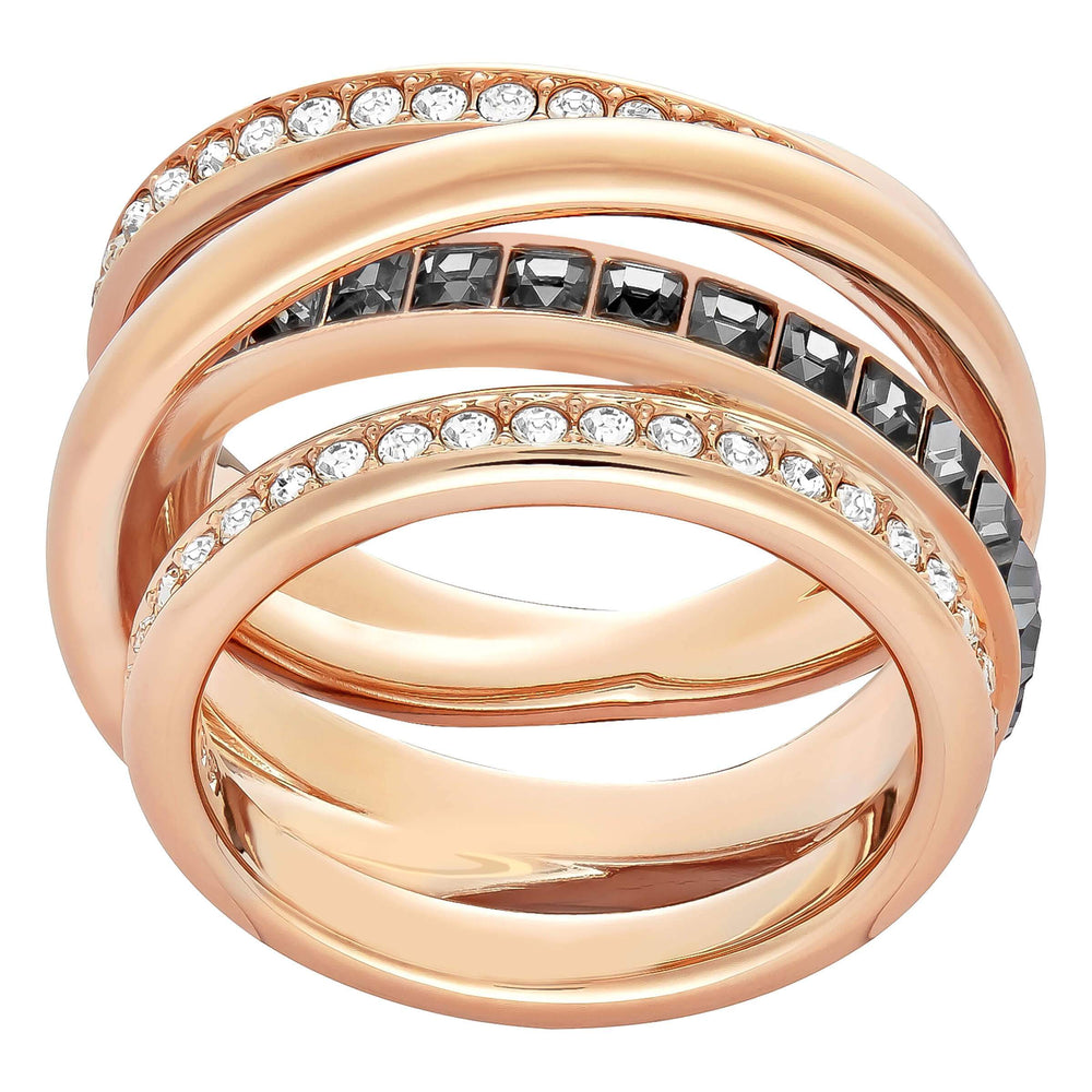 Swarovski Dynamic Ring, Grey, Rose Gold Plated