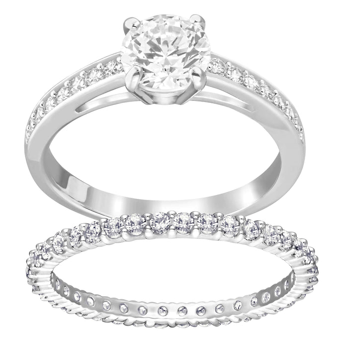 Swarovski I Do Ring Set, White, Rhodium Plating