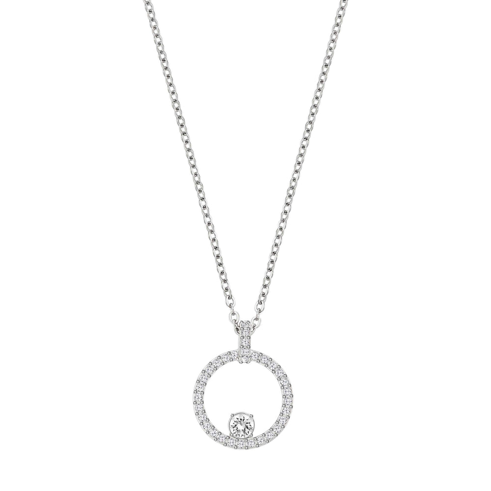 Swarovski Creativity Circle Pendant, White, Rhodium Plated