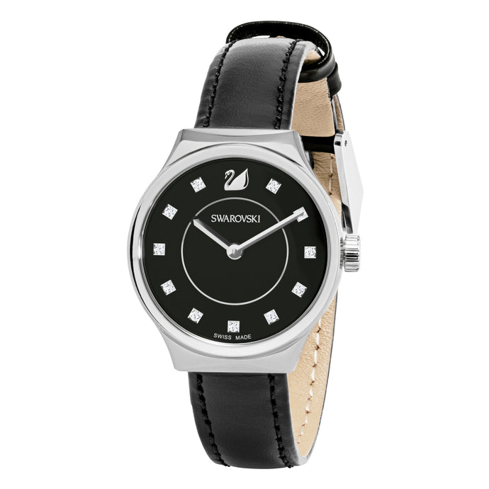 Dreamy Watch, Leather strap, Black, Stainless steel