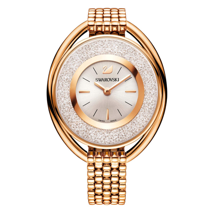 Crystalline Oval Bracelet Watch, Rose Gold Tone