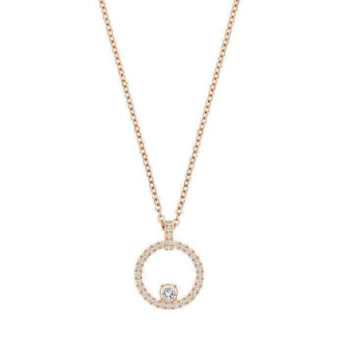 Creativity Circle Pendant, White, Rose Gold Plated
